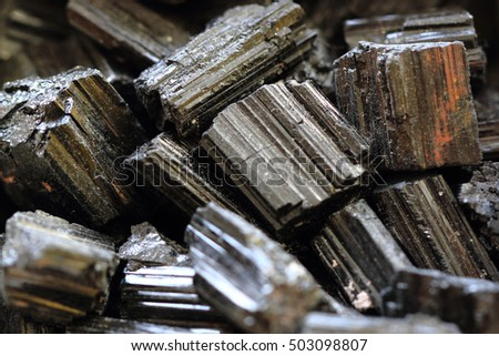 black tourmaline mineral collection as nice natural background