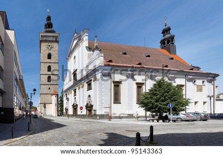 Black Tower and St. Nicholas Cathedral in Ceske Budejovice, Czech Republic