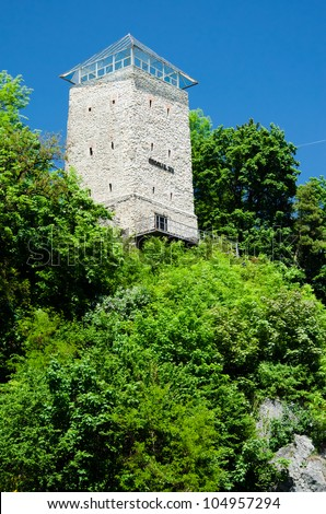 Black Tower in Brasov,Transylvania, Romania.The tower was built in 1494 on a rock on Straja Hill,near the Blacksmiths' bastion.In 1599 the tower was destroyed by lightning and became black color