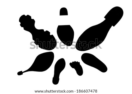 Black traces footprints and footwear family of seven people on a white background