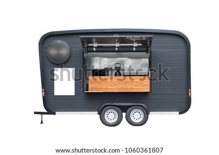 black trailer food truck isolate on white background, coffee mobile shop with white mock up sign.