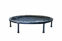 Black Trampoline on white background, for children and adults for fun indoor or outdoor jumping, Trampoline for fitness exercises