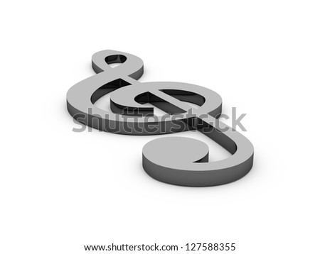 Black treble clef, musical note on ground, isolated on white background.