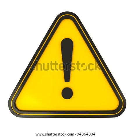 Black Triangle Warning Sign on yellow with white background #94864834