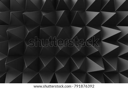 Stock Photo Black triangular pyramid background, top view of dark geometric pattern in 3d render
