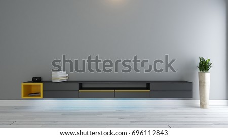 Black tv stand with plant in the room decor idea 3d rendering by Sedat SEVEN