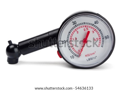 Black tyre pressure gauge isolated on white