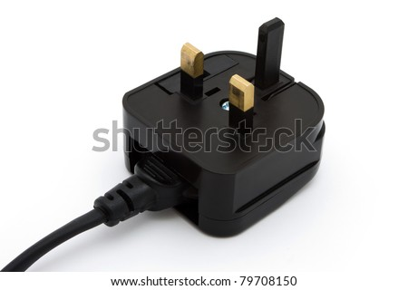 Black UK plug isolated on white