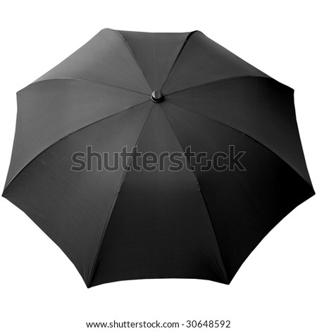 Black umbrella isolated over a white background