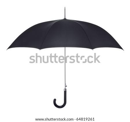 Black umbrella on white background