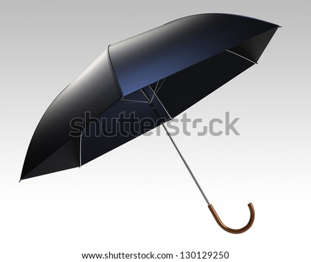 black umbrella with clipping path