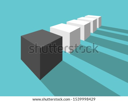 Black unique different cube in front of many white ones. Perspective view. Uniqueness, individuality and difference concept. Flat design. 3d illustration. Raster copy