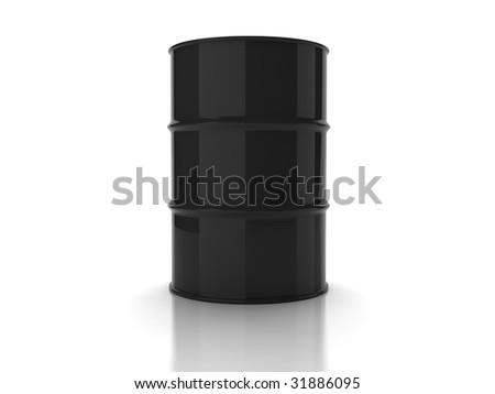 Black unmarked oil barrel on white background