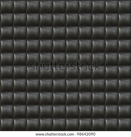 Black Upholstery Leather Seamless Pattern - Hyper Realistic Illustration