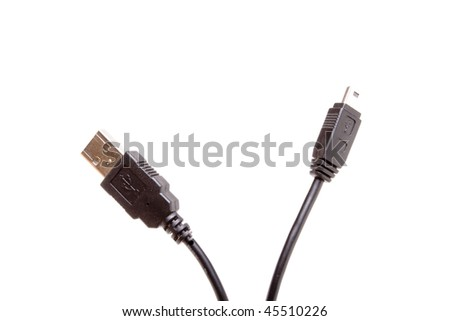 Black USB Standard and Mini Cable plugs close up isolated against white