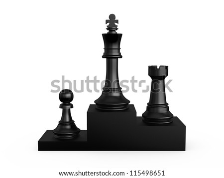 Black victory podium with chess pieces, first king, second rook, third pawn, isolated on white background.
