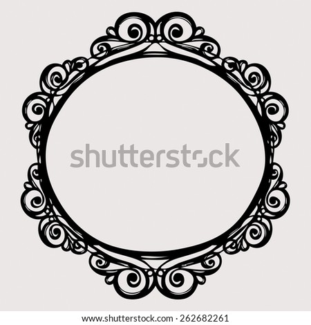 Black Vintage Border Frame Engraving With Retro Ornament Pattern In Antique Rococo Style Decorative Design