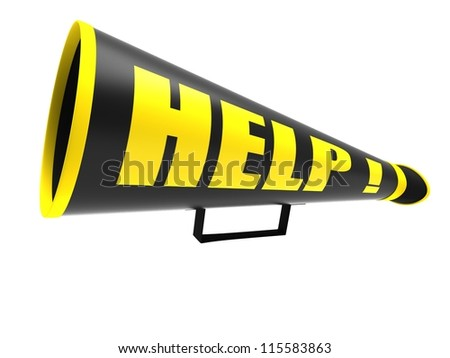 "Black vintage megaphone with the word ""help"" isolated on white background"