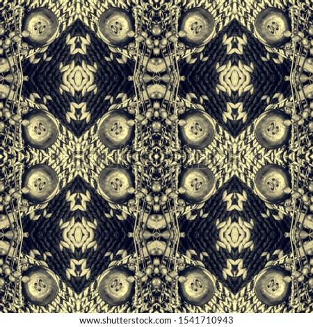 Black Vintage Seamless Background. Ethnic Ornament Print. Ornate Tile Background Black Silver Dressing element Antique Element Royal Kaleidoscope Art. Floral Elements Floral Elements