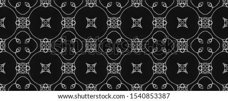 Black Vintage Seamless Background. Ornate Tile Background Ornamental Geometry. Black Tile Dressing element Antique Element Bright Kaleidoscope Pattern Floral Elements Floral Design.