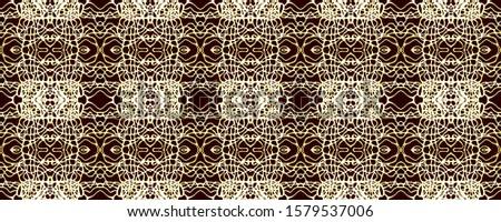 Black Vintage Seamless Background. Ornate Tile Background Ornamental Geometry. Gold Tile Embroidery net. Antique Element Bright Kaleidoscope Art. Floral Elements Floral Elements