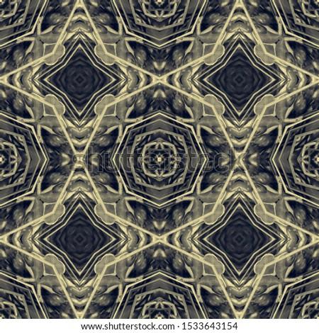 Black Vintage Seamless Background. Ornate Tile Background Ornate Tile Background Golden Black Decoration print. Dark Texture. Royal Kaleidoscope Pattern Floral Design. Floral Elements