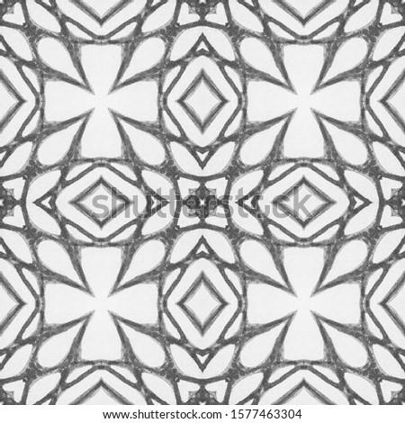 Black Vintage Seamless Pattern Tile. Ornate Tile Background Ornamental Geometry. Black Silver Dressing element Asian Ornament. Luxury Kaleidoscope Art. Floral Elements Floral Elements