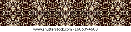 Black Vintage Seamless Pattern Tile. Ornate Tile Background Ornate Tile Background Golden Black Dressing element Old fashion Design. Royal Kaleidoscope Effect. Floral Elements Floral Elements
