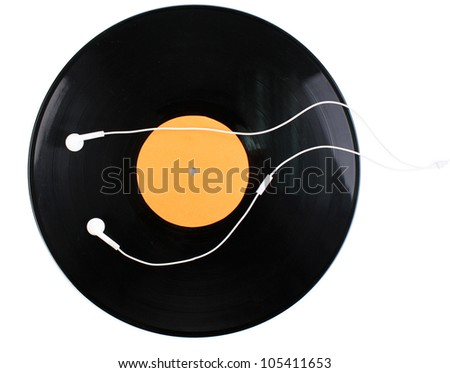 Black vinyl record and headphones isolated on white