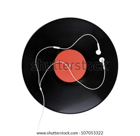 Black vinyl record and headphones isolated on white