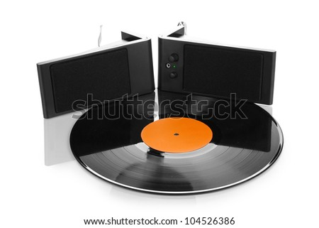 Black vinyl record and loudspeakers isolated on white