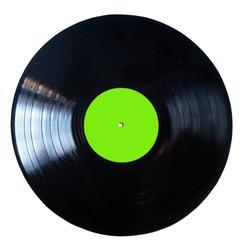 Black vinyl record isolated on white background