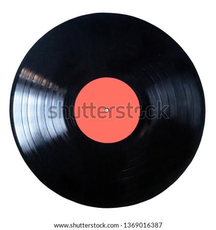 Black vinyl record isolated on white background  #1369016387