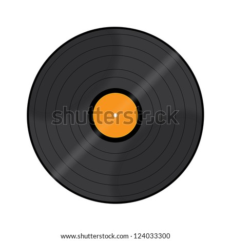 Black vinyl record lp album disc; isolated long play disk - stock photo