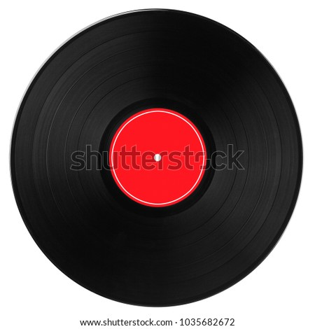 Black vinyl record with bright red label and white edging isolated on white background. Top view.