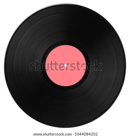 Black vinyl record with pink label isolated on white background. Top view. #1044084202