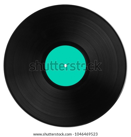Black vinyl record with strong cyan label isolated on white background. Top view. #1046469523