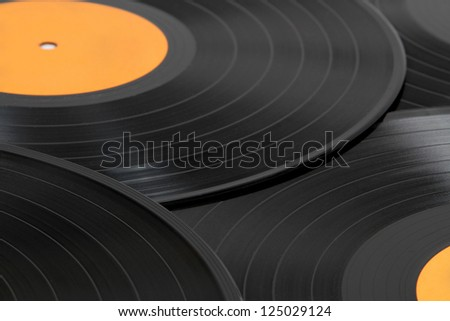 Black vinyl records background