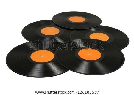 Black vinyl records background