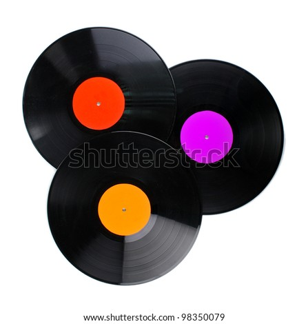 Black vinyl records isolated on white