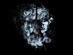 Black Violin With Smoke Around, Black Background
