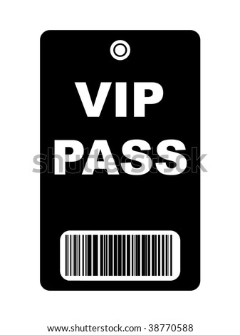 Black VIP access pass with bar code, isolated on white background.