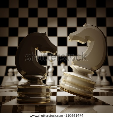 Black vs wihte chess horse background sepia tone 3d illustration. high resolution