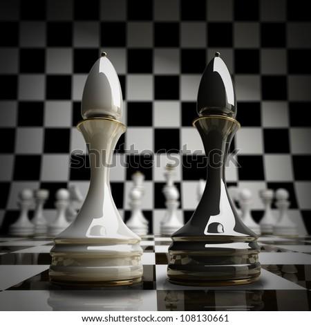 Black vs wihte chess officer background 3d illustration. high resolution