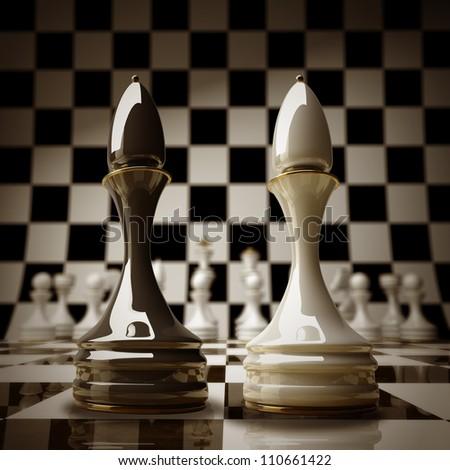 Black vs wihte chess officer background sepia tone 3d illustration. high resolution - stock photo