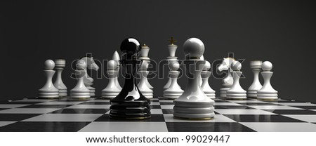 Black vs wihte chess pawn background. high resolution