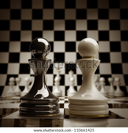 Black vs wihte chess pawn background sepia tone 3d illustration. high resolution