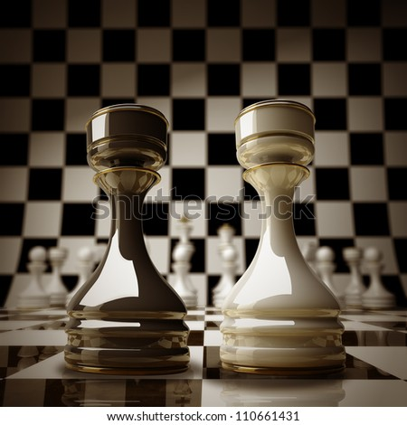 Black vs wihte chess rook background sepia tone 3d illustration. high resolution