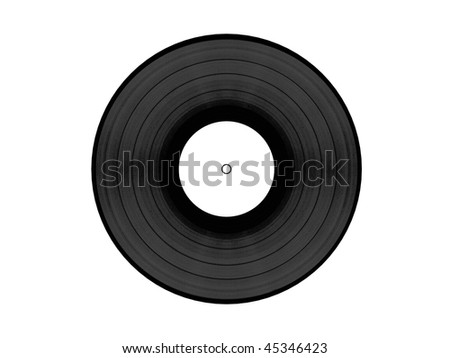Black vynil disc with white clean label isolated on white background. Front view. High quality 3d render.