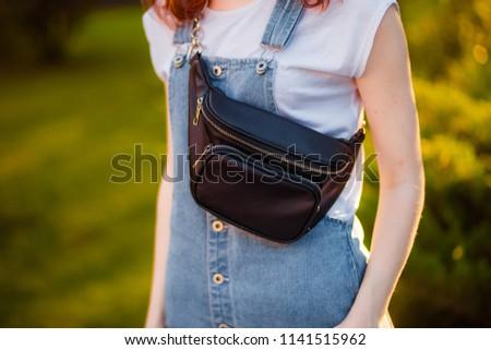 black waist bag close-up  #1141515962